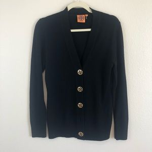 Tory Burch Black Cardigan Sweater Gold Buttons S